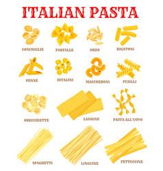 italian cuisine pasta list poster for food design vector image