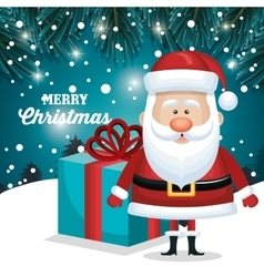 merry christmas santa claus and gift blue vector image vector image