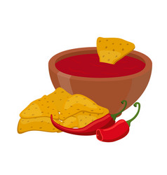 Mexican nachos chips cartoon flat style vector