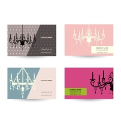 set of Business card template with chandelier vector image