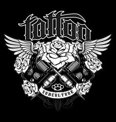 Tattoo shirt design monochrome version vector