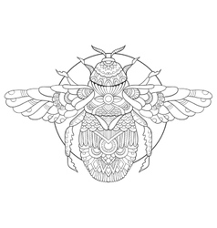 Bumblebee coloring book for adults vector image