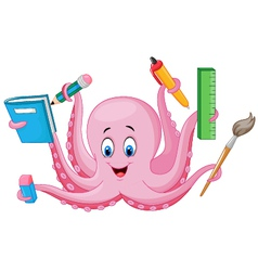 Cartoon octopus holding stationery vector image vector image