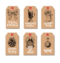 christmas vintage gift tags set with lettering vector image