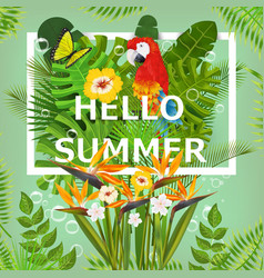 Summer background with tropical plants and flowers vector image vector image