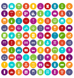 100 home icons set color vector