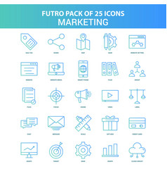 25 green and blue futuro marketing icon pack vector