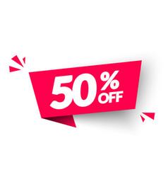 50 percent off banner modern red web label vector image
