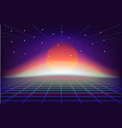 80s retro sci-fi background with sun vector