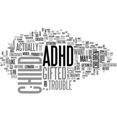 Adhd gifted text word cloud concept vector