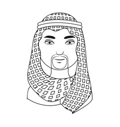 Arabhuman race single icon in outline style vector