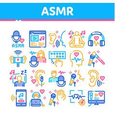 Asmr sound phenomenon collection icons set vector