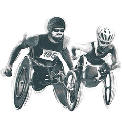 Athletes with physical disabilities - wheelchair vector