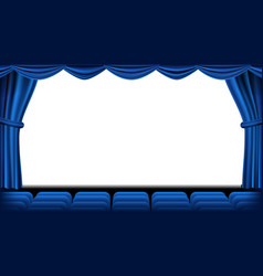 auditorium with seating blue curtain vector image