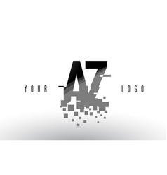az a z pixel letter logo with digital shattered vector image