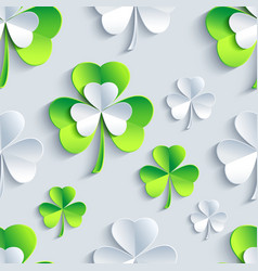 Background seamless pattern with 3d Patrick clover vector