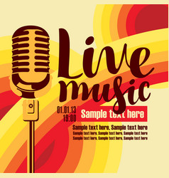 Banner for concert live music with microphone vector