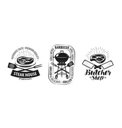 Barbecue grill butcher shop logo or label food vector