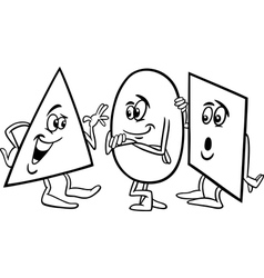Basic shapes cartoon coloring page vector