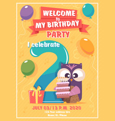 birthday invitation kids poster with owls funny vector image