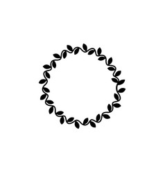black flat wreath icon with wavy circle line vector image
