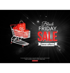 Black friday sale shining background with vector image
