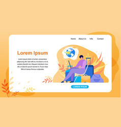 Booking airline tickets service website vector
