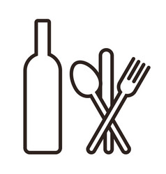 bottle knife spoon and fork vector image