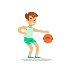 Boy Playing BasketballKid Practicing Different vector image