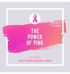 Breast Cancer Awareness Poster Creative Pink Brush vector