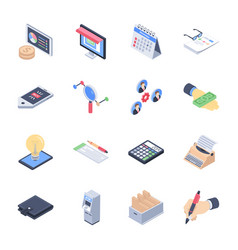 business launch icons pack vector image