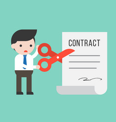 businessman using scissor cut contract document vector image