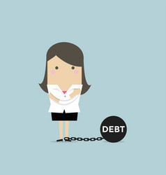 businesswoman with debt burden vector image