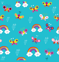 butterflies rainbows diamonds seamless pattern vector image