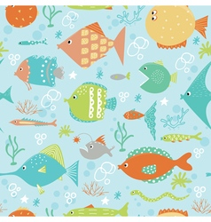 Cartoon fish pattern vector