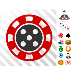 Casino chip icon with bonus vector