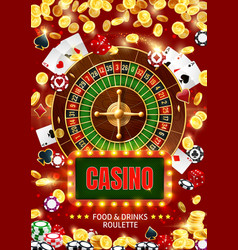 casino roulette cards chips dice gambling game vector image