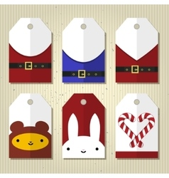 Christmas and New Year cute gift tags vector image