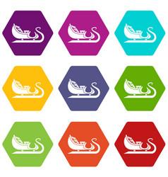 christmas sleigh of santa claus icon set color vector image