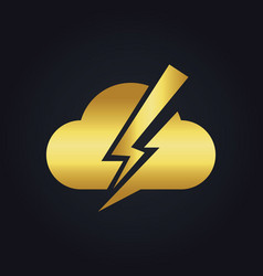 Cloud bolt gold logo vector