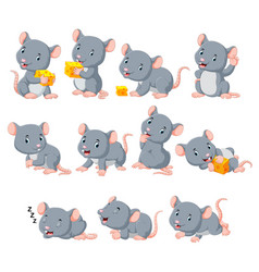 collection cute mouse with various posing vector image
