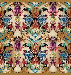 colorful baroque seamless pattern light vector image