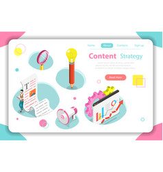 content strategy flat isometric concept vector image