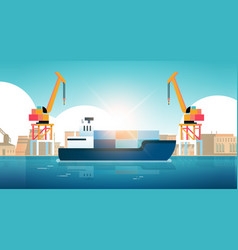 cranes in port loading containers on ship cargo vector image