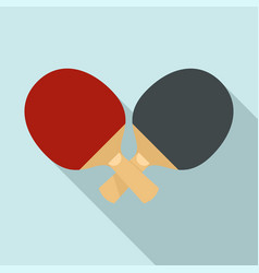 crossed ping pong paddle icon flat style vector image