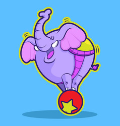 cute elephant circus playing ball vector image