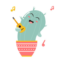 cute singing cartoon cactus vector image