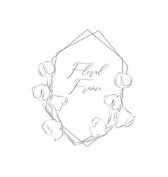 delicate floristic geometric frame cotton vector image