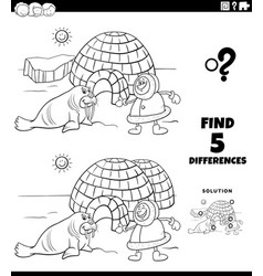 Differences educational game with eskimo coloring vector