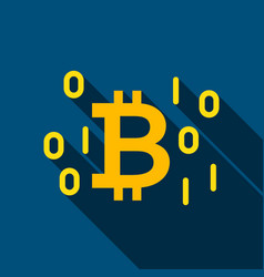 Digital bitcoin flat icon vector